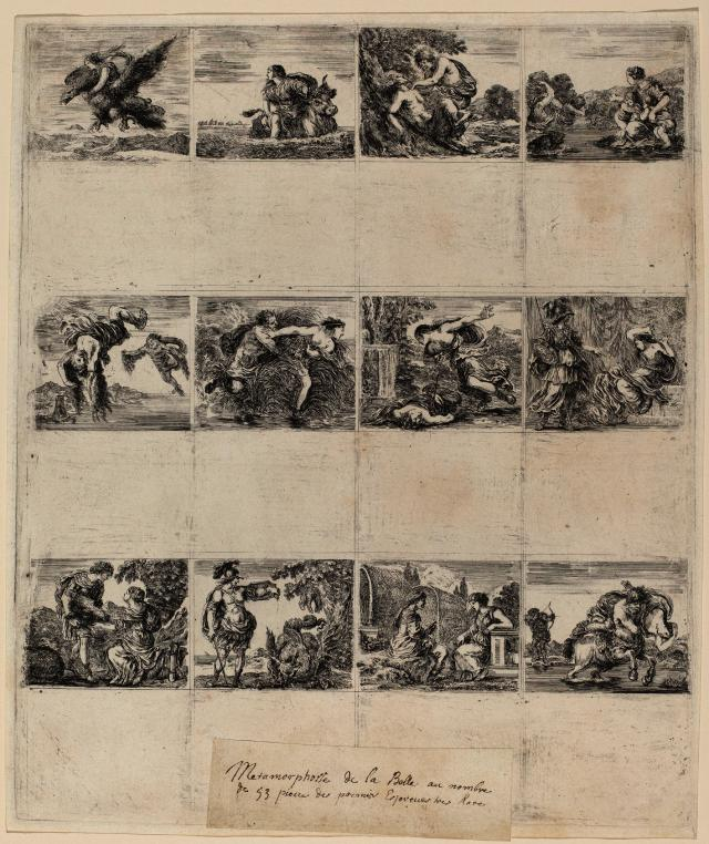 Mythological Playing Cards. Dated: 1644. Medium: 12 etchings on one sheet. Museum: National Gallery of Art, Washington DC. Author: STEFANO DELLA BELLA.